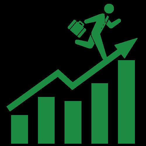 上昇グラフの上を駆け上がるビジネスマン