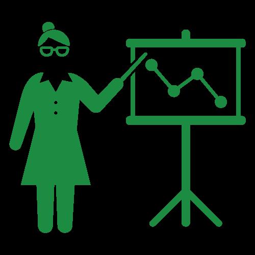 グラフを発表する女性