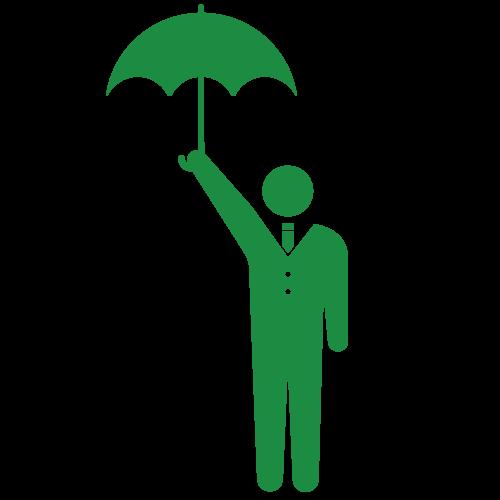 傘をさすビジネスマン