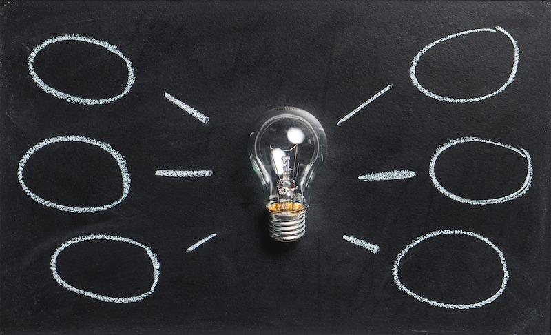 電球とそこから派生するアイデアの吹き出し